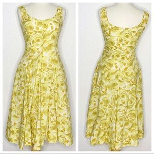 Talbots Yellow Floral Sleeveless Dress Size 4P